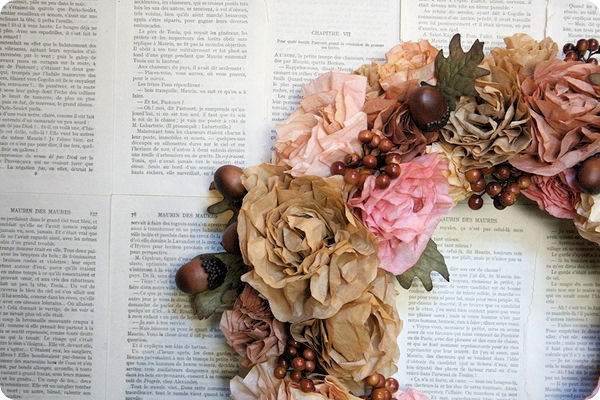 autumn coffee filter flower wreath with acorns