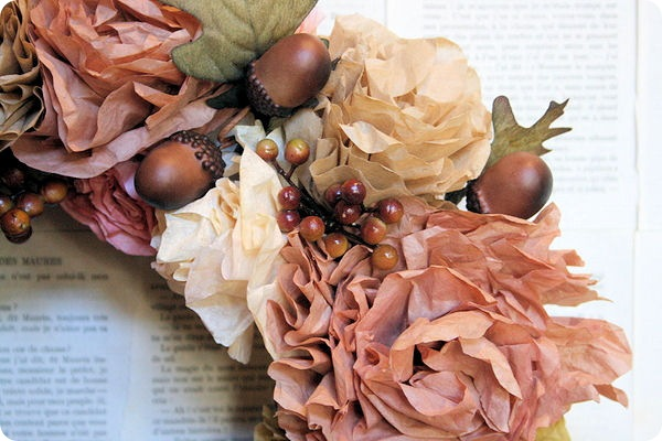 autumn coffee filter flower wreath