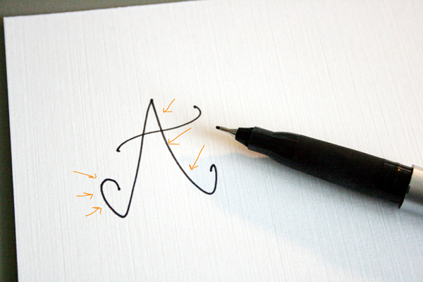 downstrokes on letter A