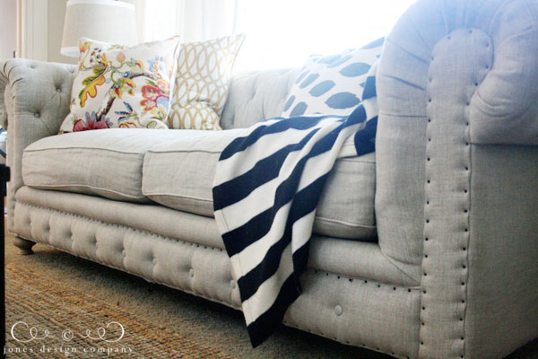 Tufted Linen Sofa With Nailhead Trim