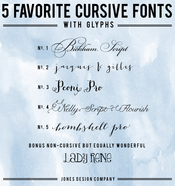 5 favorite cursive fonts with glyphs and how to use them jones