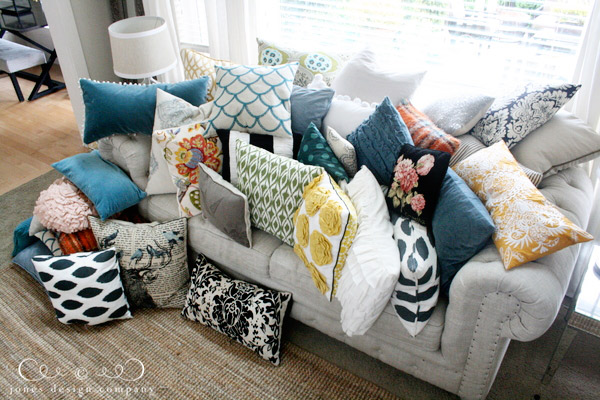 Pillows Covering Sofa