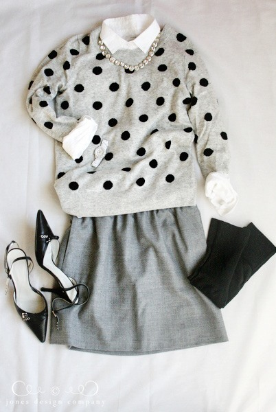 dot-sweater-gray-skirt