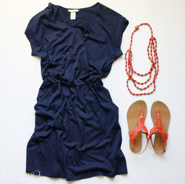 8 favorite outfits for summer - jersey dress, sandals + bright necklace / jones design company