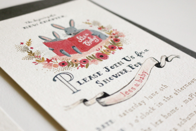 Book Themed Baby Shower Invitation Up Close / Jones Design Company