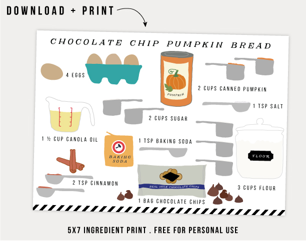 free pumpkin bread ingredient print / jones design company
