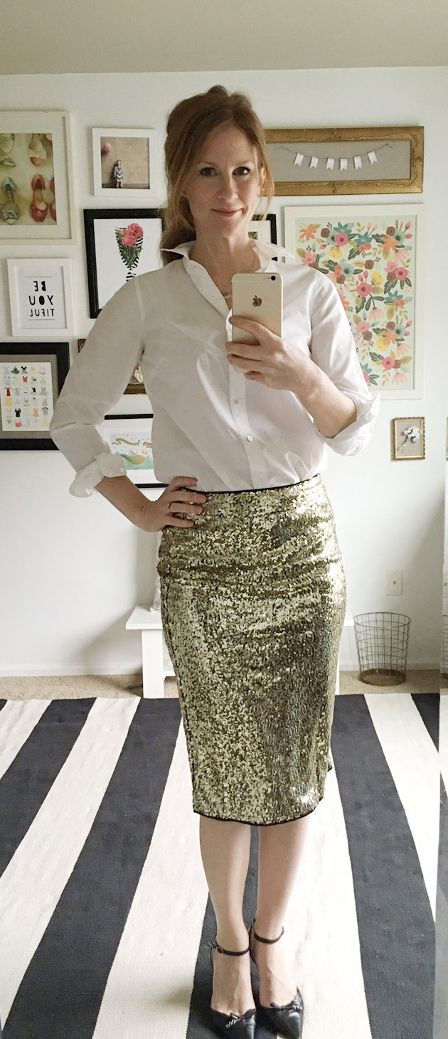 5 Festive Looks for Holiday Parties OUTFIT FOUR: sequin pencil skirt, white button down, heels / jones design company