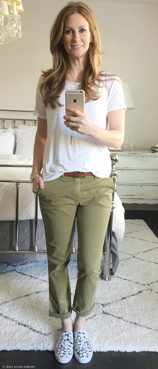 Six Casually Classic Looks for Spring / Jones Design Company - olive chinos, white shirt, graphic slip-ons