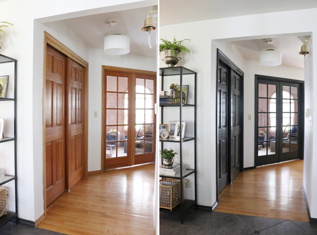 The dark doors look modern and clean and even with the change in flooring material it feels less busy. & Updating the Entry: painting the doors trim + staircase | Jones ...